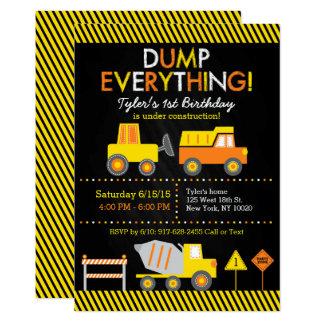 Construction Truck Chalkboard Birthday Card