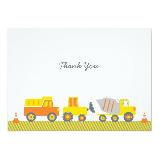 Construction Truck Thank You Cards