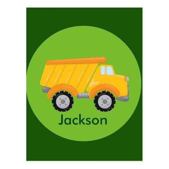 Construction Truck Vehicle Green Yellow Kids Postcard