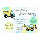 Construction Trucks Baby Shower Card