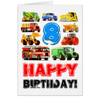 Construction Trucks Boy's 8th Birthday Card