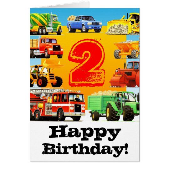 Construction Trucks Custom Boy's 2nd Birthday Card