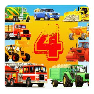 Construction Trucks Kid's 4th Birthday Party Card