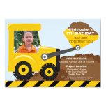 Construction trucks Photo Birthday Party for boys 13 Cm X 18 Cm Invitation Card