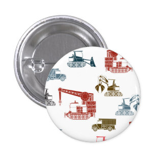 Construction Vehicle Pattern 3 Cm Round Badge