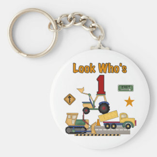 Construction Vehicles 1st Birthday Tshirts Basic Round Button Key Ring