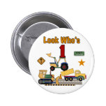 Construction Vehicles 1st Birthday Tshirts Buttons