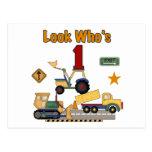Construction Vehicles 1st Birthday Tshirts Post Card