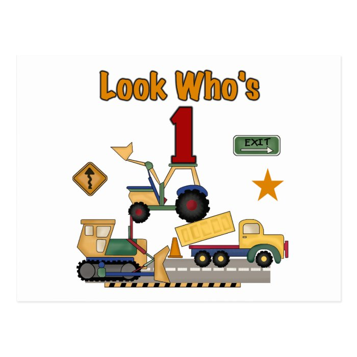 Construction Vehicles 1st Birthday Tshirts Postcard