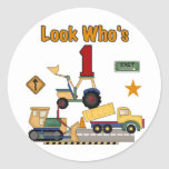 Construction Vehicles 1st Birthday Tshirts Round Sticker