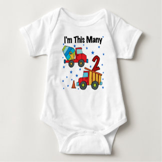 Construction Vehicles 2nd Birthday Gifts Baby Bodysuit