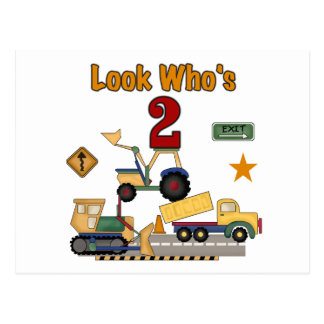 Construction Vehicles 2nd Birthday Postcard