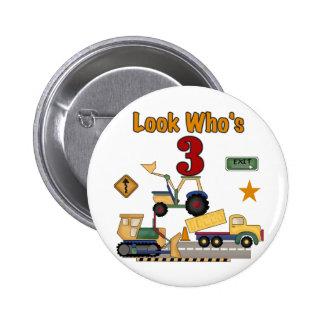 Construction Vehicles 3rd Birthday Tshirts 6 Cm Round Badge