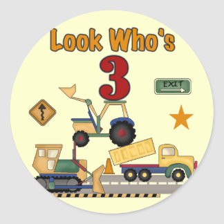 Construction Vehicles 3rd Birthday Tshirts Classic Round Sticker