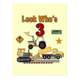 Construction Vehicles 3rd Birthday Tshirts Postcard