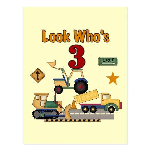 Construction Vehicles 3rd Birthday Tshirts Post Card