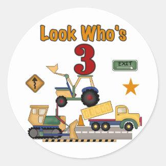 Construction Vehicles 3rd Birthday Tshirts Stickers