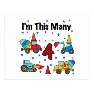 Construction Vehicles 4th Birthday T-shirts Postcard