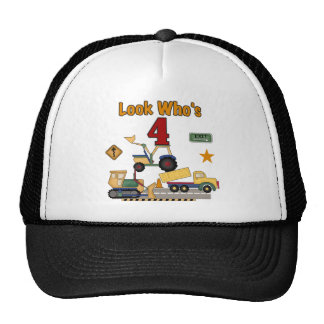 Construction Vehicles 4th Birthday Tshirts Cap