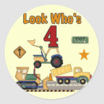 Construction Vehicles 4th Birthday Tshirts Sticker
