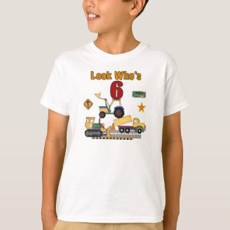 Construction Vehicles 6th Birthday T-Shirt