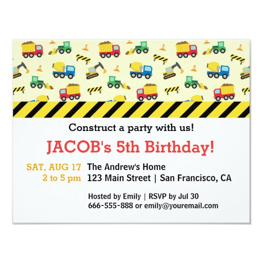 Construction Vehicles Pattern Birthday Party Card
