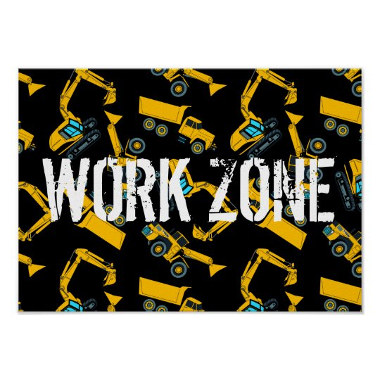 Construction vehicles poster