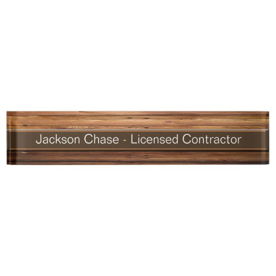 Construction Wood Grain Desk Nameplate