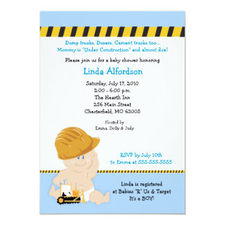CONSTRUCTION WORKER Baby Shower Invitation 5x7