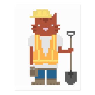 Construction Worker Cat Pixel Art Postcards