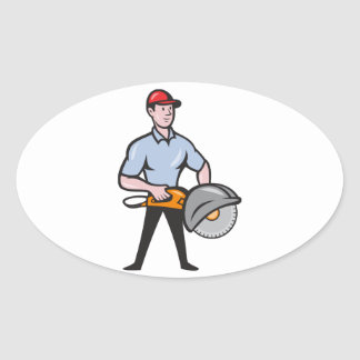 Construction Worker Concrete Saw Consaw Cartoon Oval Sticker