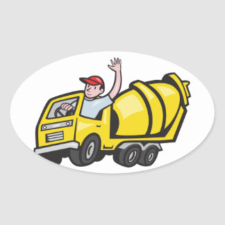 Construction Worker Driver Cement Mixer Truck Oval Stickers