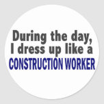 Construction Worker During The Day Round Sticker