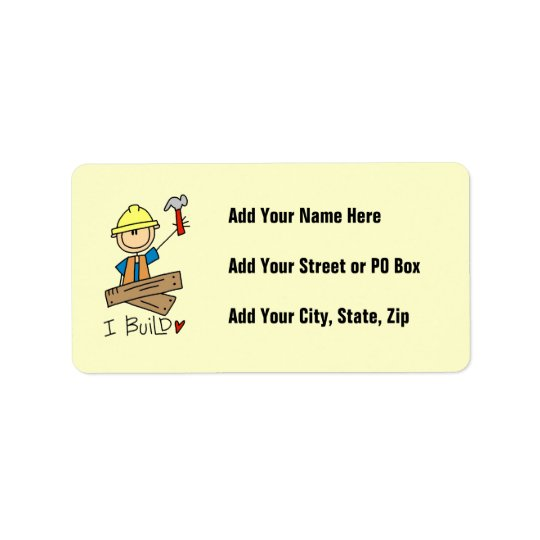 Construction Worker I Build T-shirts and Gifts Address Label