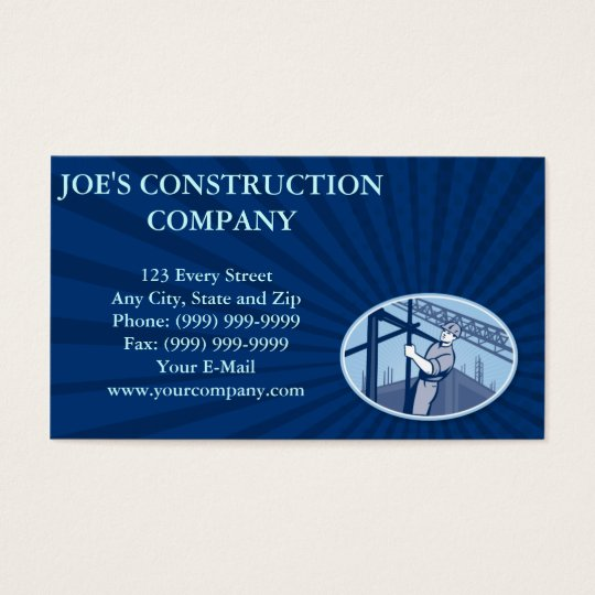 Construction Worker Scaffolding Retro Business Card