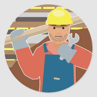 Construction worker (Simple History) Classic Round Sticker