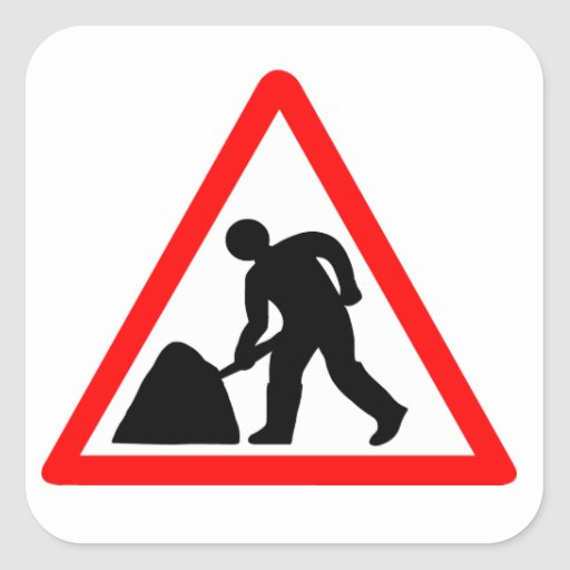 Construction Worker Square Stickers