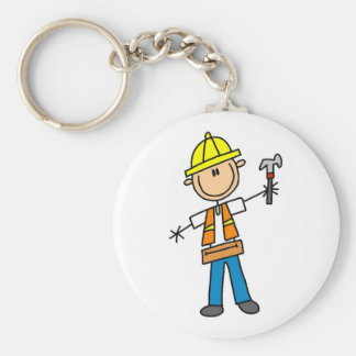 Construction Worker with Hammer Basic Round Button Key Ring