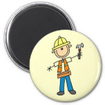 Construction Worker with Hammer Fridge Magnets