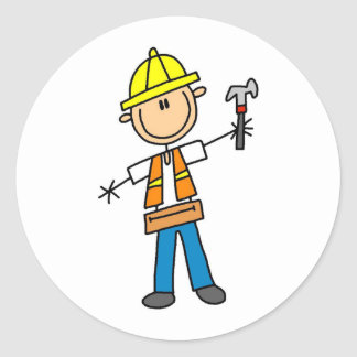 Construction Worker with Hammer Sticker