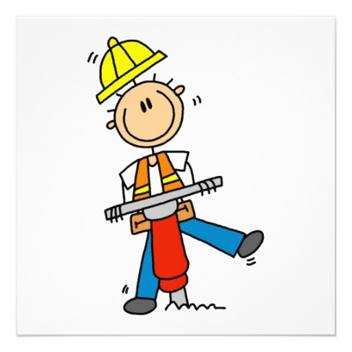 Construction  Worker With Jack Hammer Gifts Custom Invitations