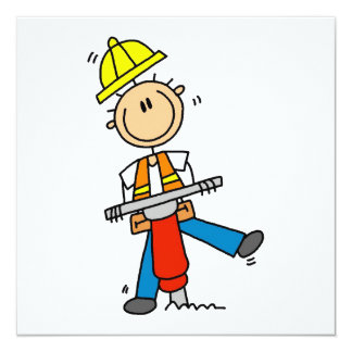 Construction  Worker With Jack Hammer Gifts 13 Cm X 13 Cm Square Invitation Card