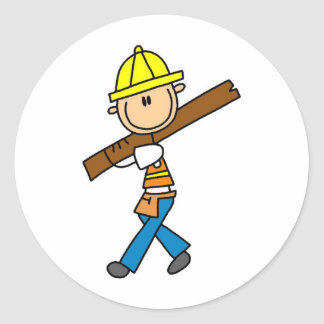 Construction Worker with Lumber Stickers