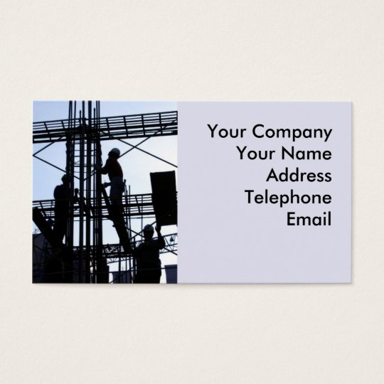 Construction Workers on Scaffolding Business Card