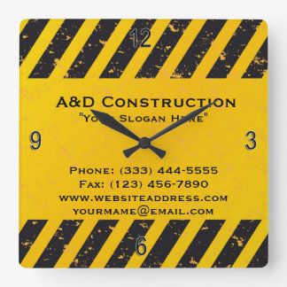 Construction Yellow and Black Wall Clock