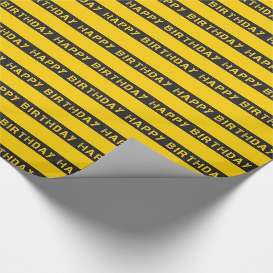 CONSTRUCTION YELLOW BLACK WRAPPING PAPER | KIDS