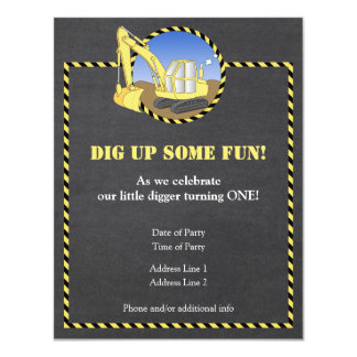 Construction Zone Chalk Birthday Party Invitation