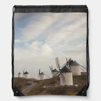 Consuegra, antique La Mancha windmills Drawstring Bag