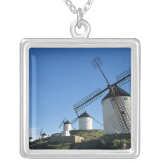 Consuegra, La Mancha, Spain, windmills 2 Silver Plated Necklace