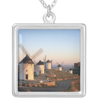 Consuegra, La Mancha, Spain, windmills Silver Plated Necklace